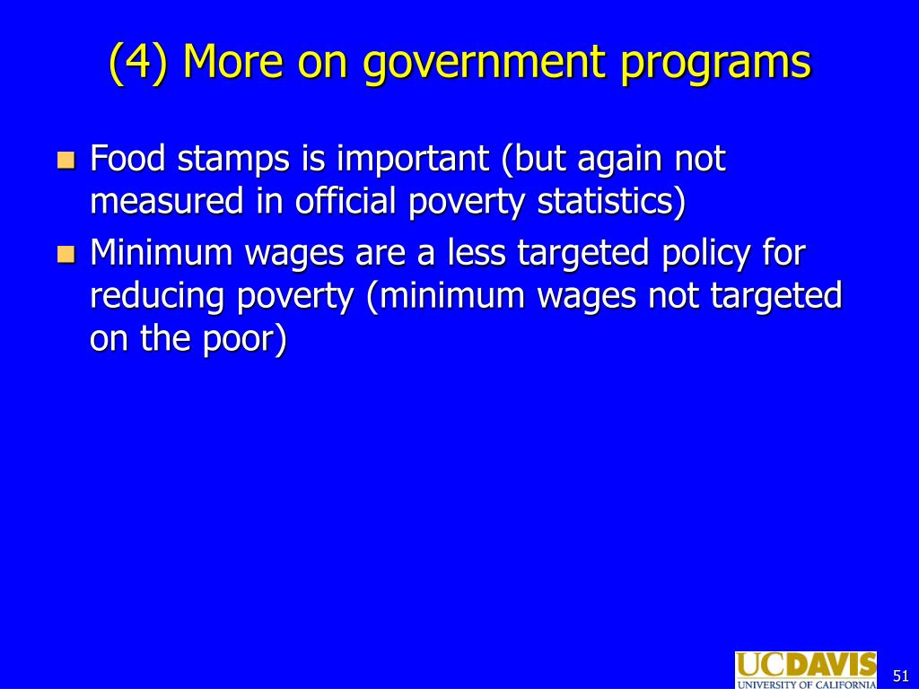 (4) More on government programs