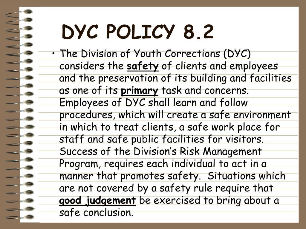 DYC POLICY 8.2