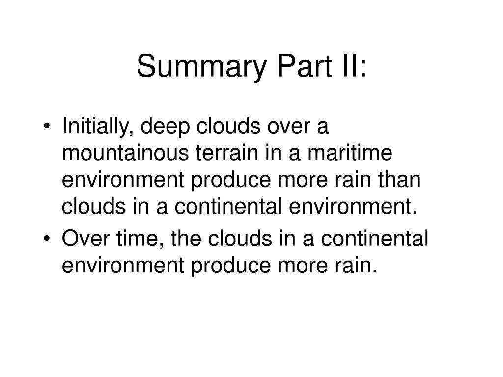 Summary Part II: