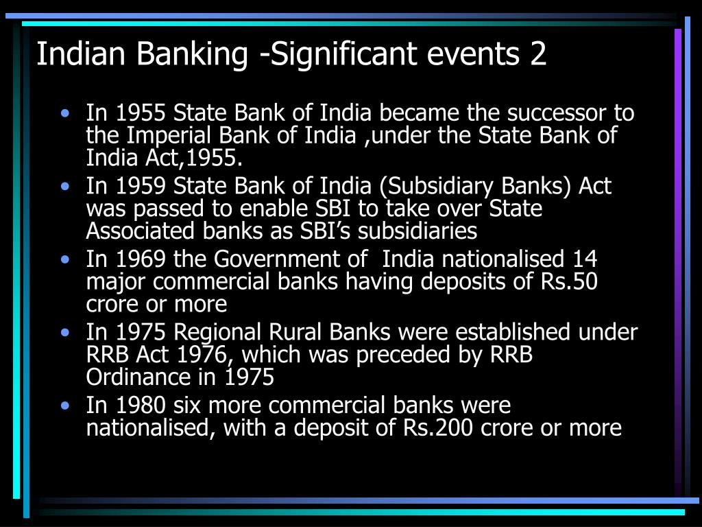 Indian Banking -Significant events 2