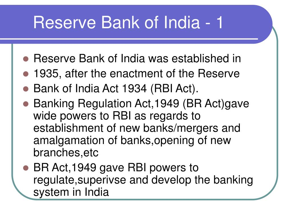 Reserve Bank of India - 1