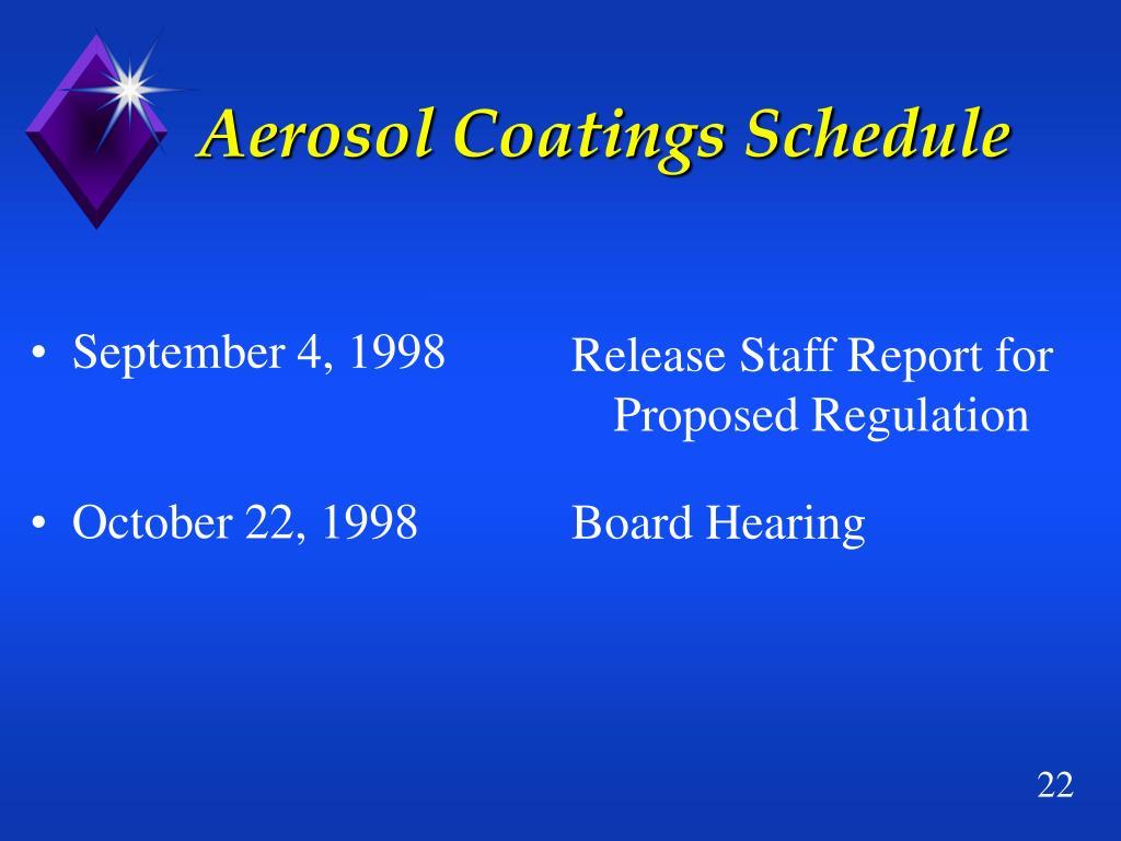 Aerosol Coatings Schedule