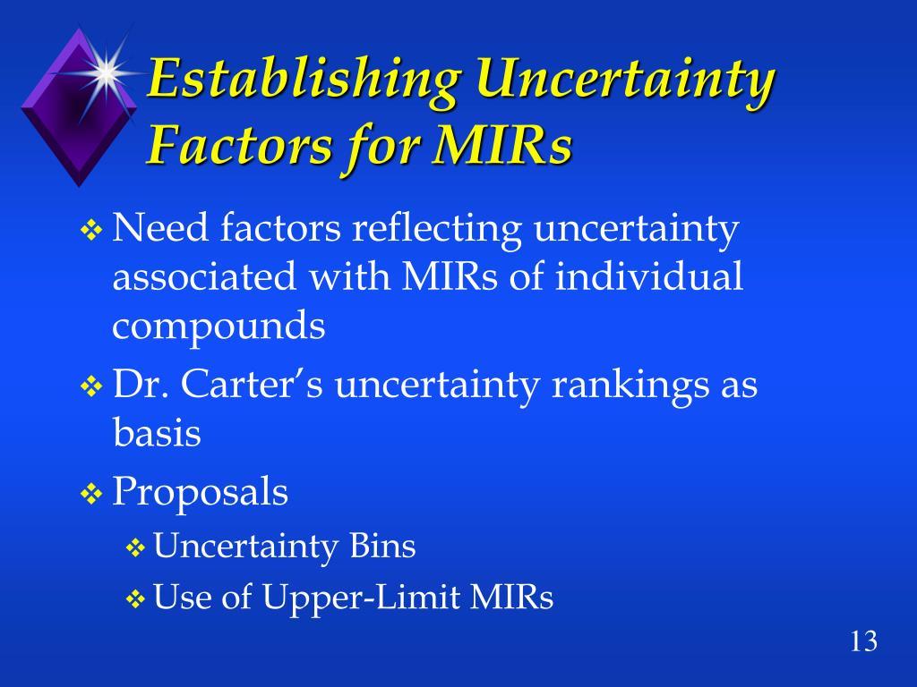 Establishing Uncertainty Factors for MIRs