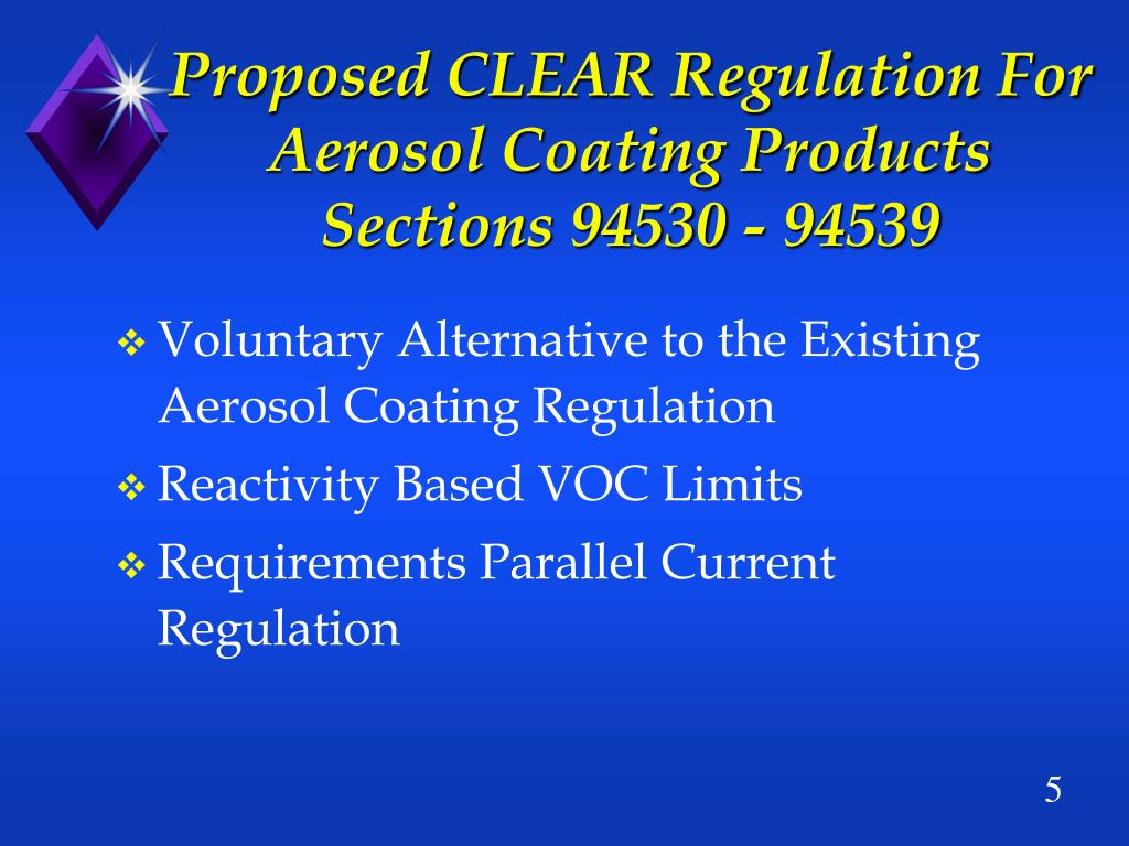 Proposed CLEAR Regulation For Aerosol Coating Products