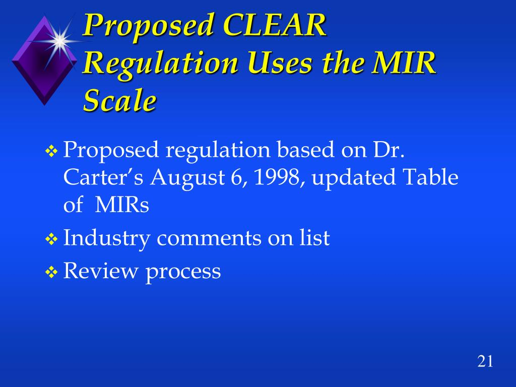 Proposed CLEAR Regulation Uses the MIR Scale