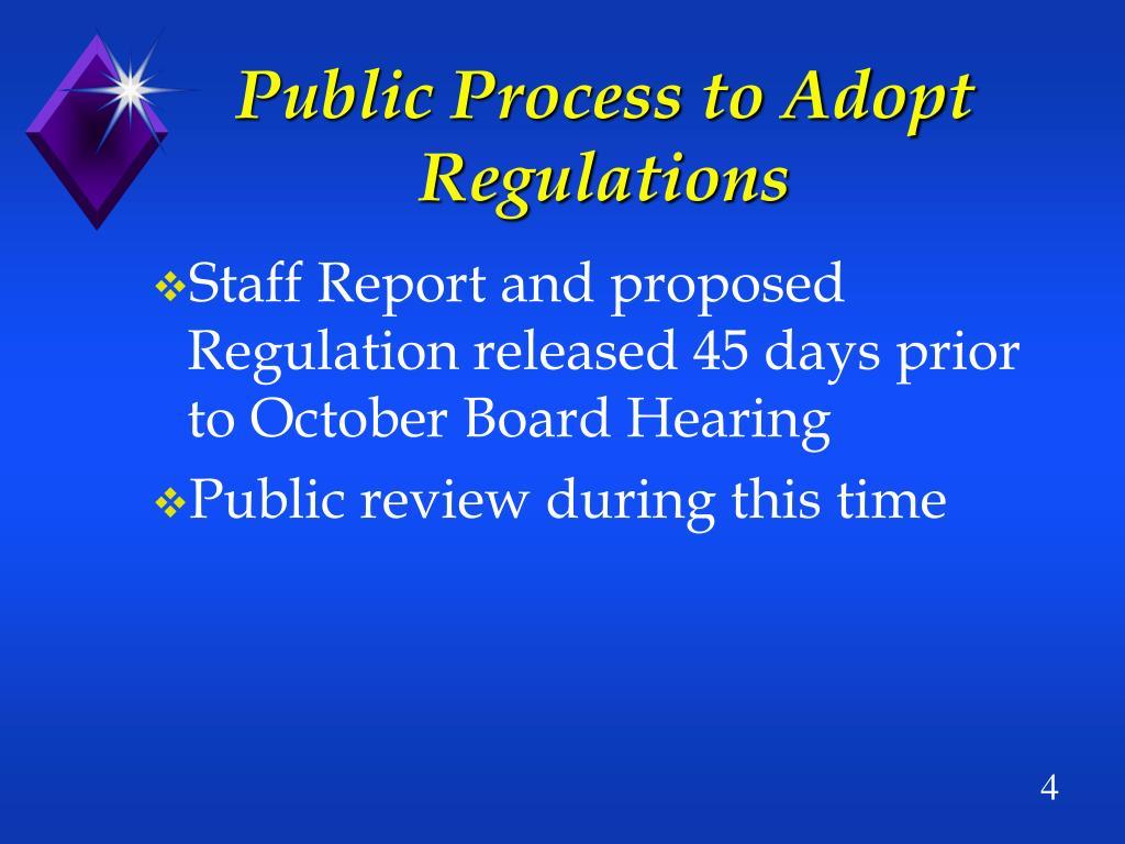 Public Process to Adopt Regulations
