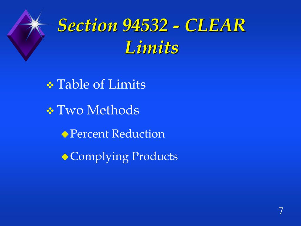 Section 94532 - CLEAR Limits