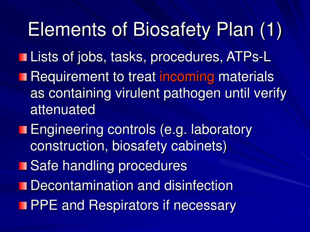 Elements of Biosafety Plan (1)