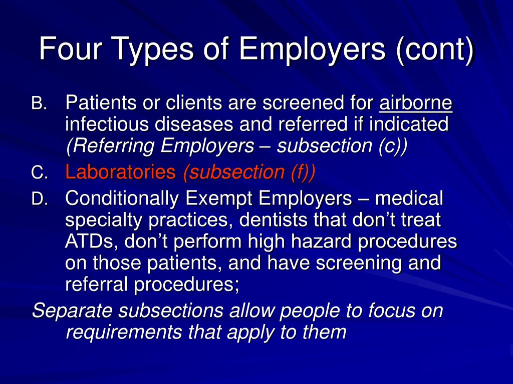 Four Types of Employers (cont)