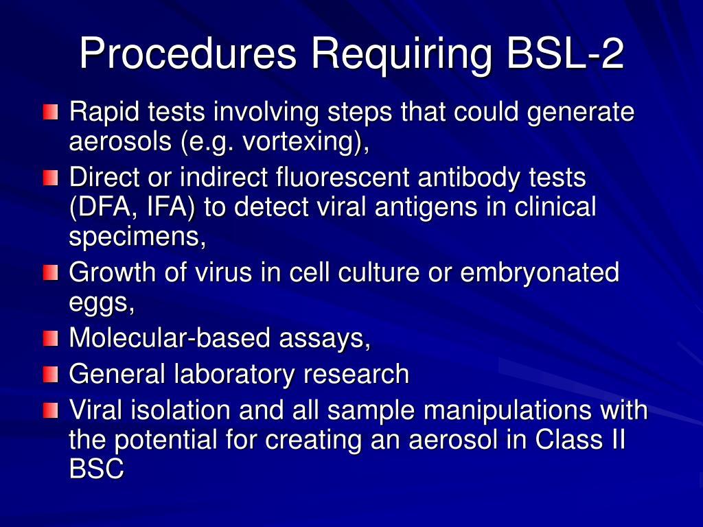 Procedures Requiring BSL-2