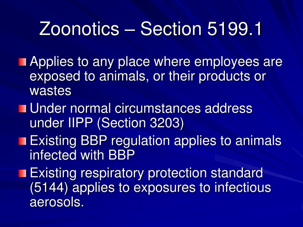 Zoonotics – Section 5199.1
