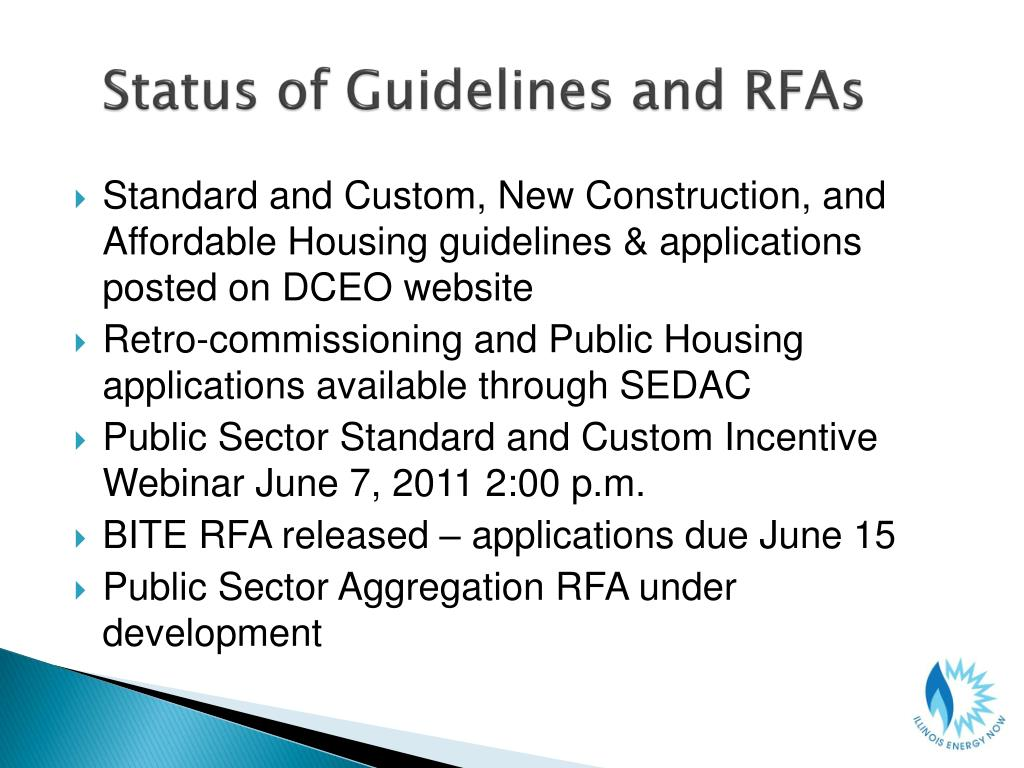 Status of Guidelines and RFAs