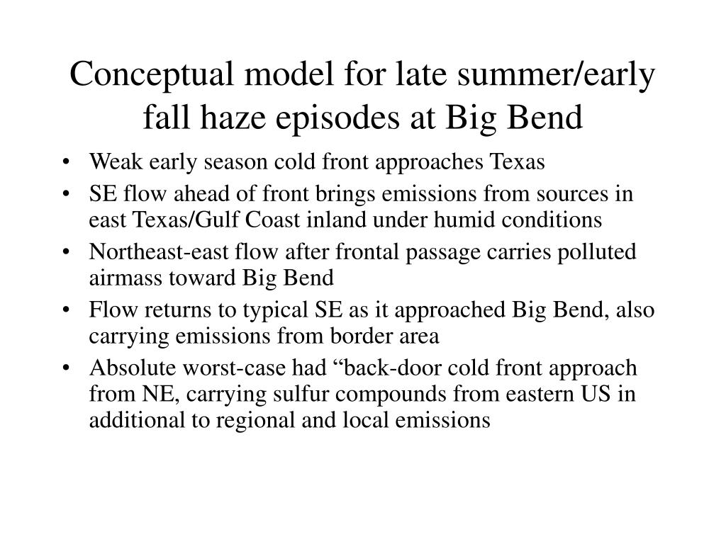 Conceptual model for late summer/early fall haze episodes at Big Bend