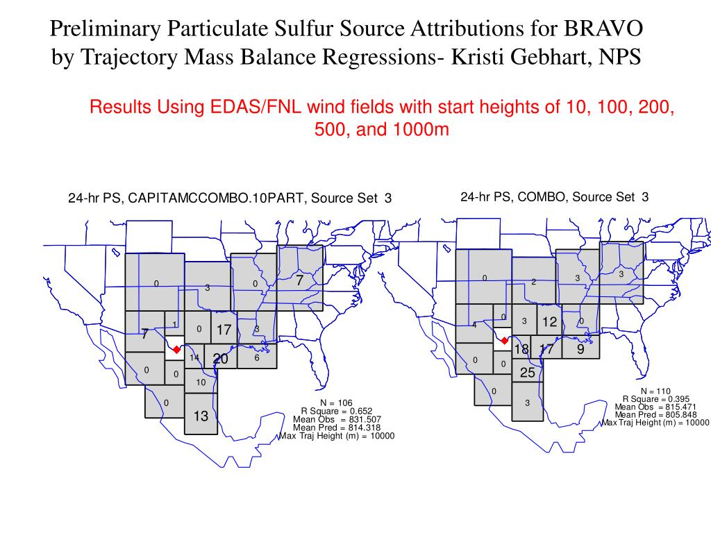 Preliminary Particulate Sulfur Source Attributions for BRAVO by Trajectory Mass Balance Regressions- Kristi Gebhart, NPS