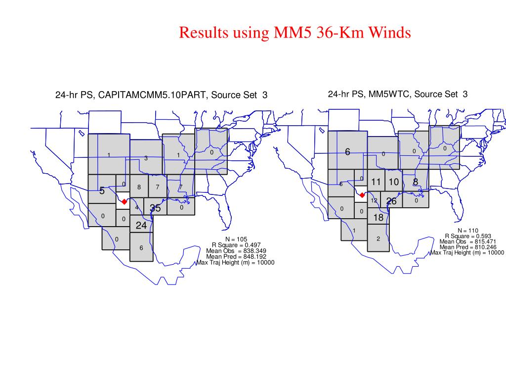 Results using MM5 36-Km Winds
