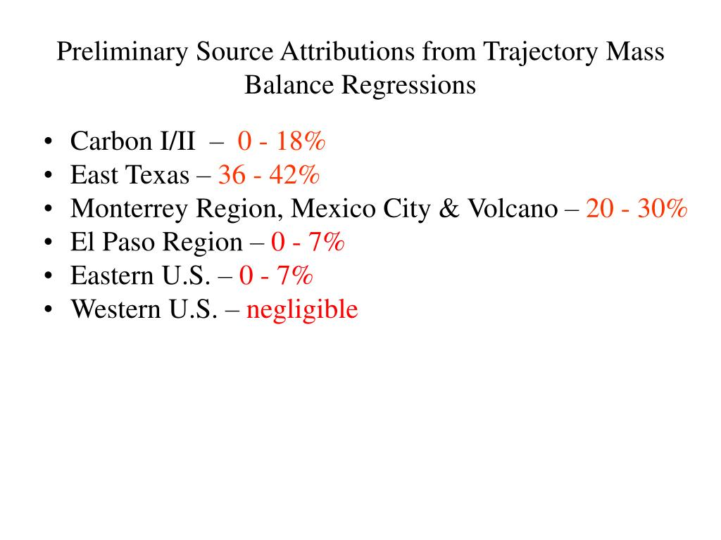 Preliminary Source Attributions from Trajectory Mass Balance Regressions
