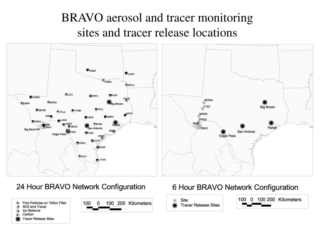 BRAVO aerosol and tracer monitoring sites and tracer release locations