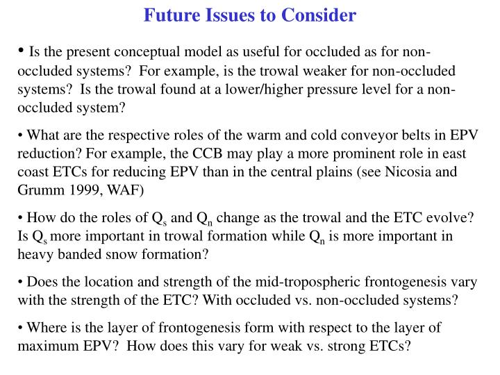 Future Issues to Consider