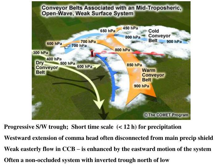 Progressive S/W trough;  Short time scale  (< 12 h) for precipitation