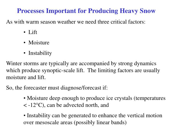 Processes Important for Producing Heavy Snow