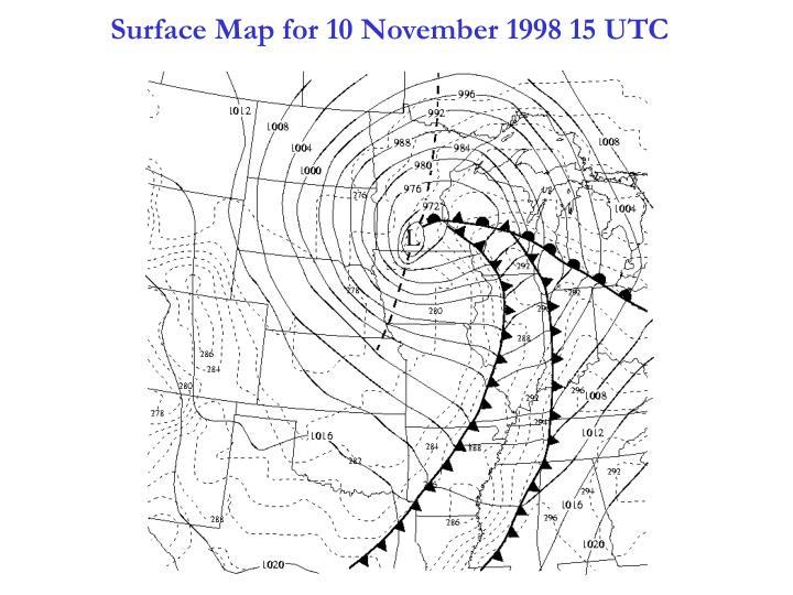 Surface Map for 10 November 1998 15 UTC