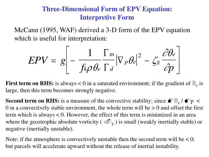 Three-Dimensional Form of EPV Equation:               Interpretive Form