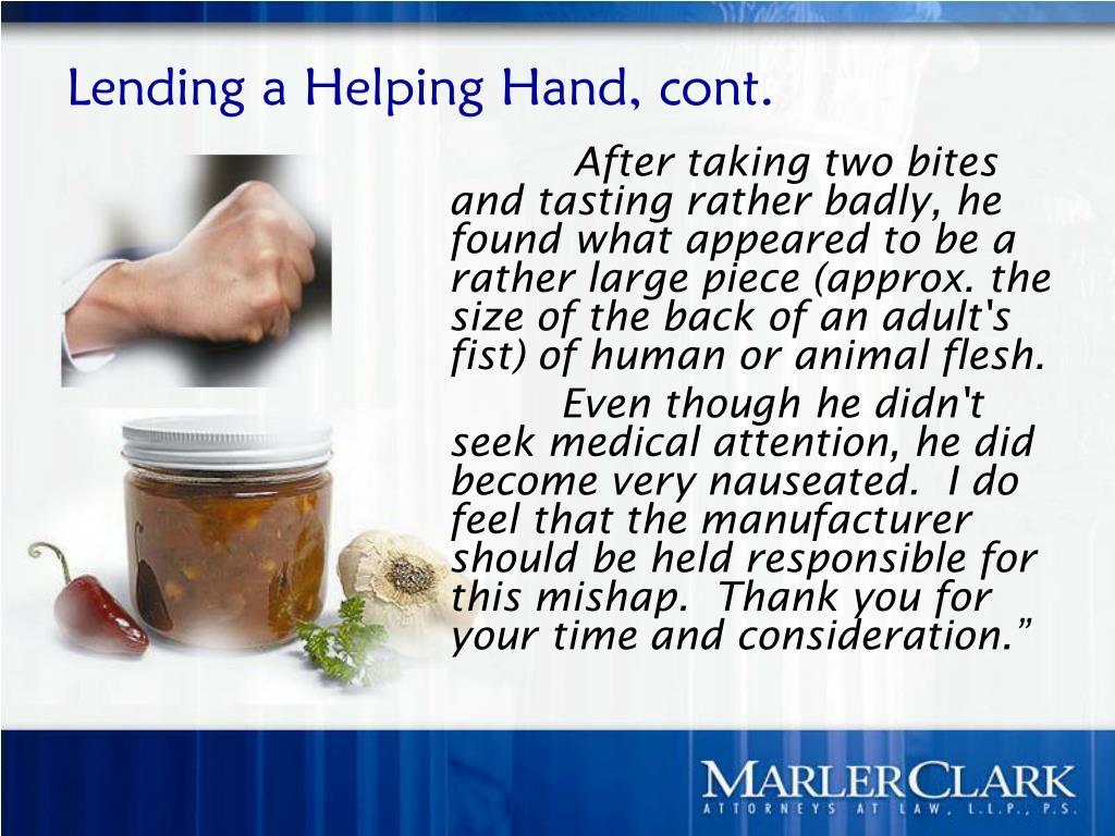 Lending a Helping Hand, cont.