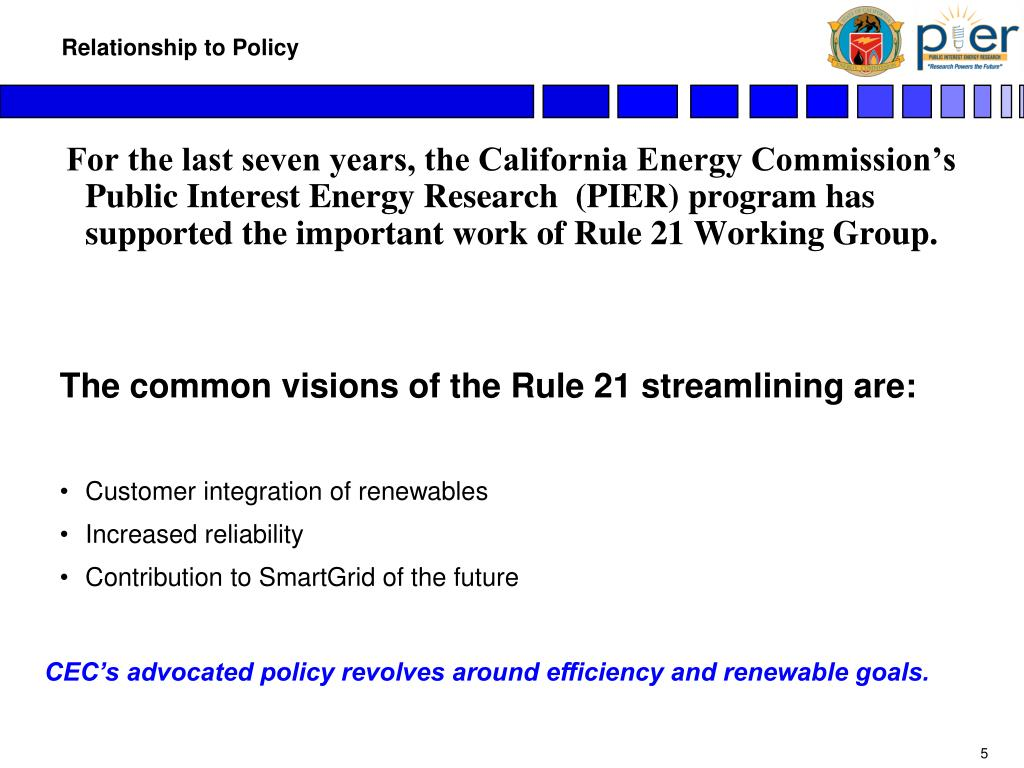 For the last seven years, the California Energy Commission's Public Interest Energy Research  (PIER) program has supported the important work of Rule 21 Working Group.
