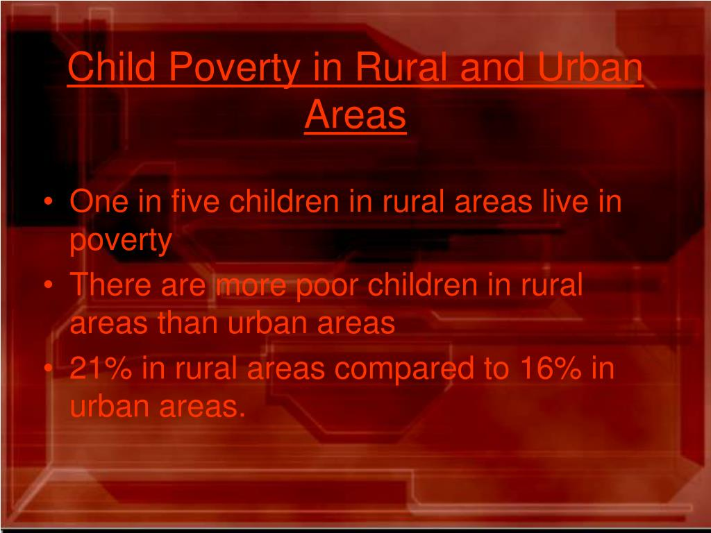 Child Poverty in Rural and Urban Areas