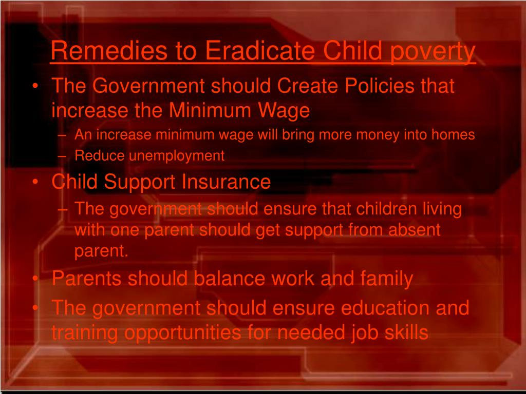 Remedies to Eradicate Child poverty