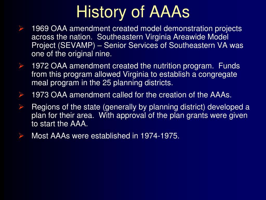 History of AAAs