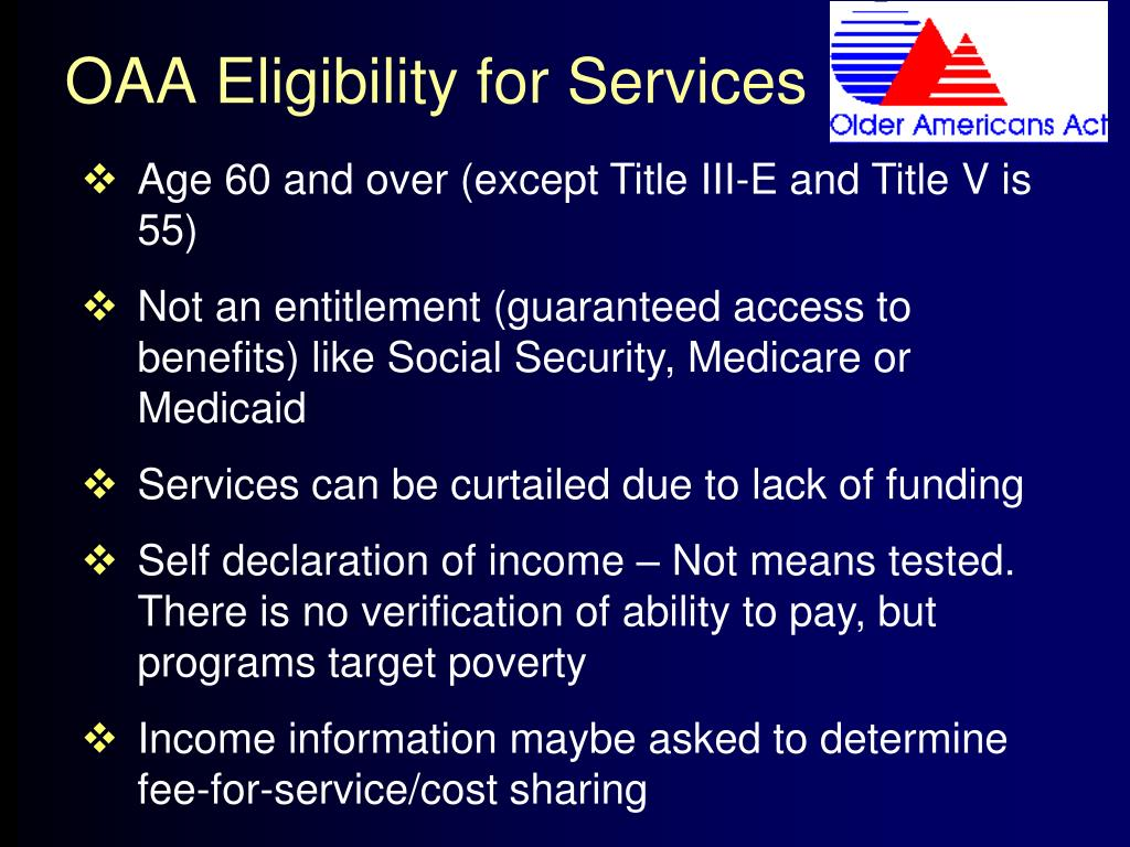 OAA Eligibility for Services