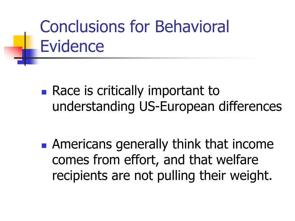 Conclusions for Behavioral Evidence