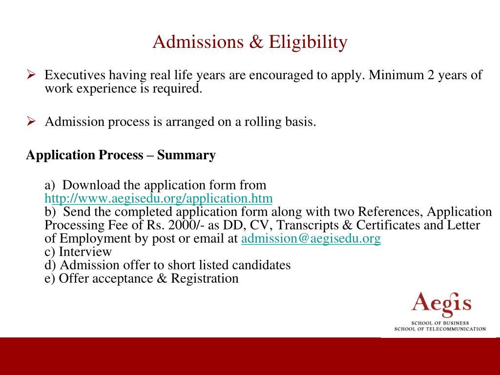 Admissions & Eligibility