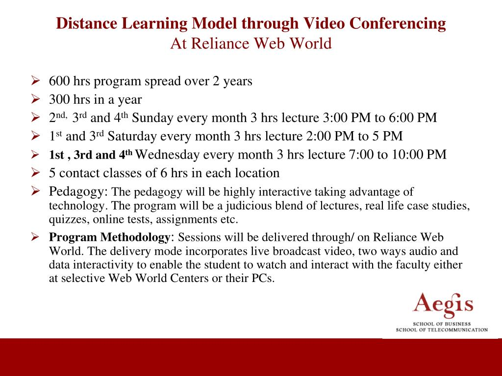 Distance Learning Model through Video Conferencing