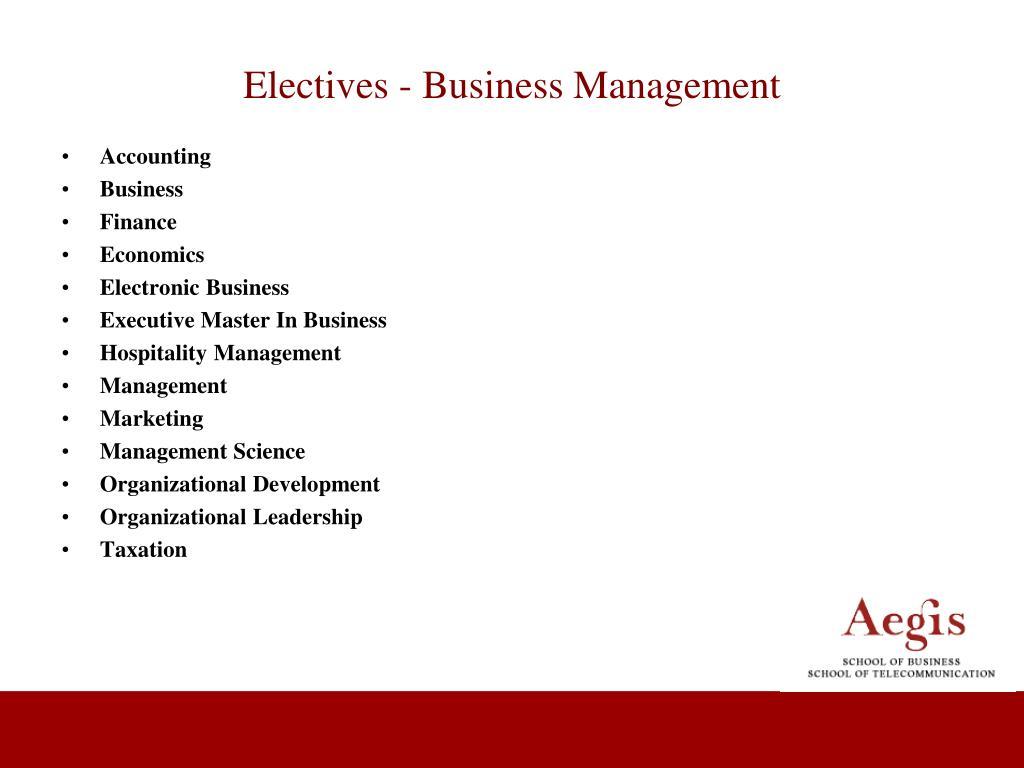 Electives - Business Management