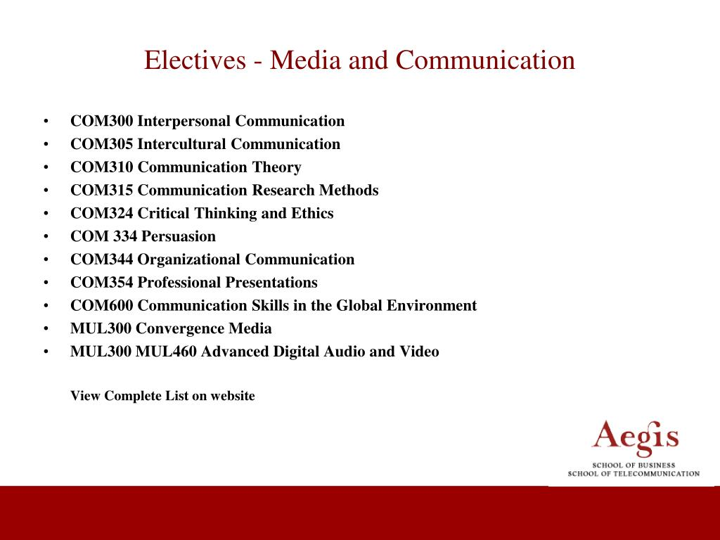 Electives - Media and Communication