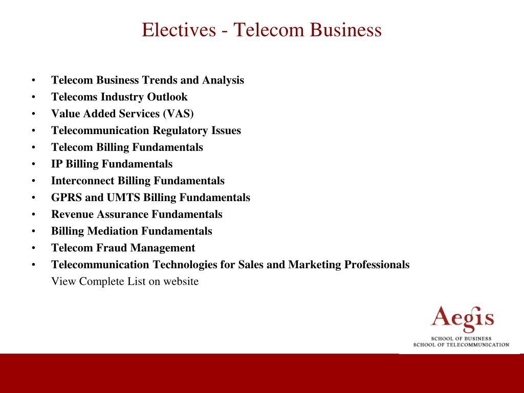 Electives - Telecom Business