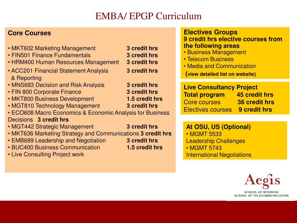 EMBA/ EPGP Curriculum