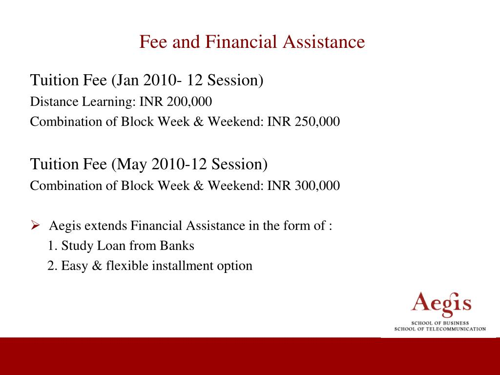 Fee and Financial Assistance