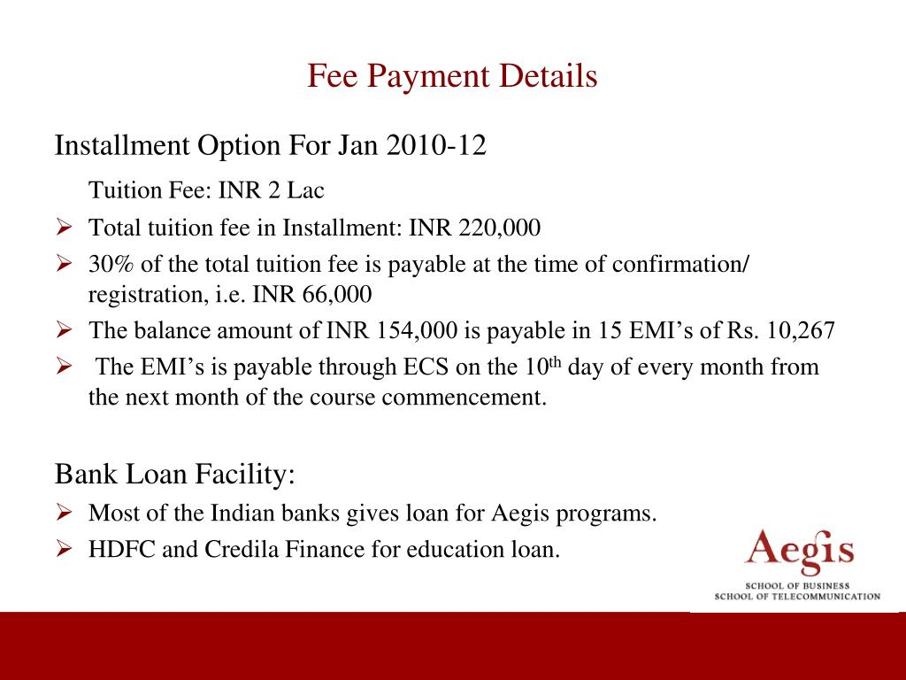 Fee Payment Details