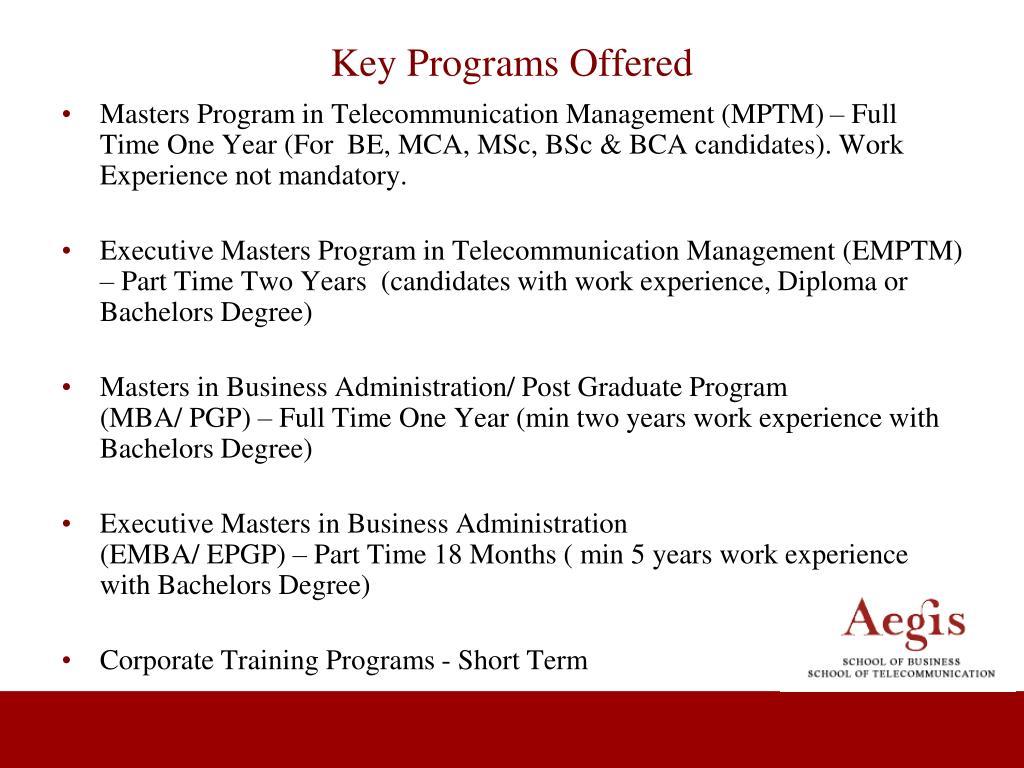 Key Programs Offered