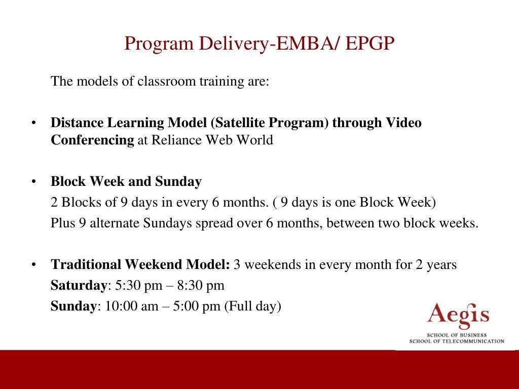 Program Delivery-EMBA/ EPGP