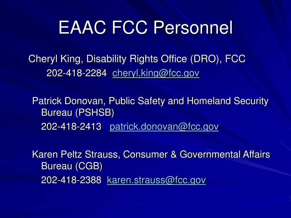 EAAC FCC Personnel