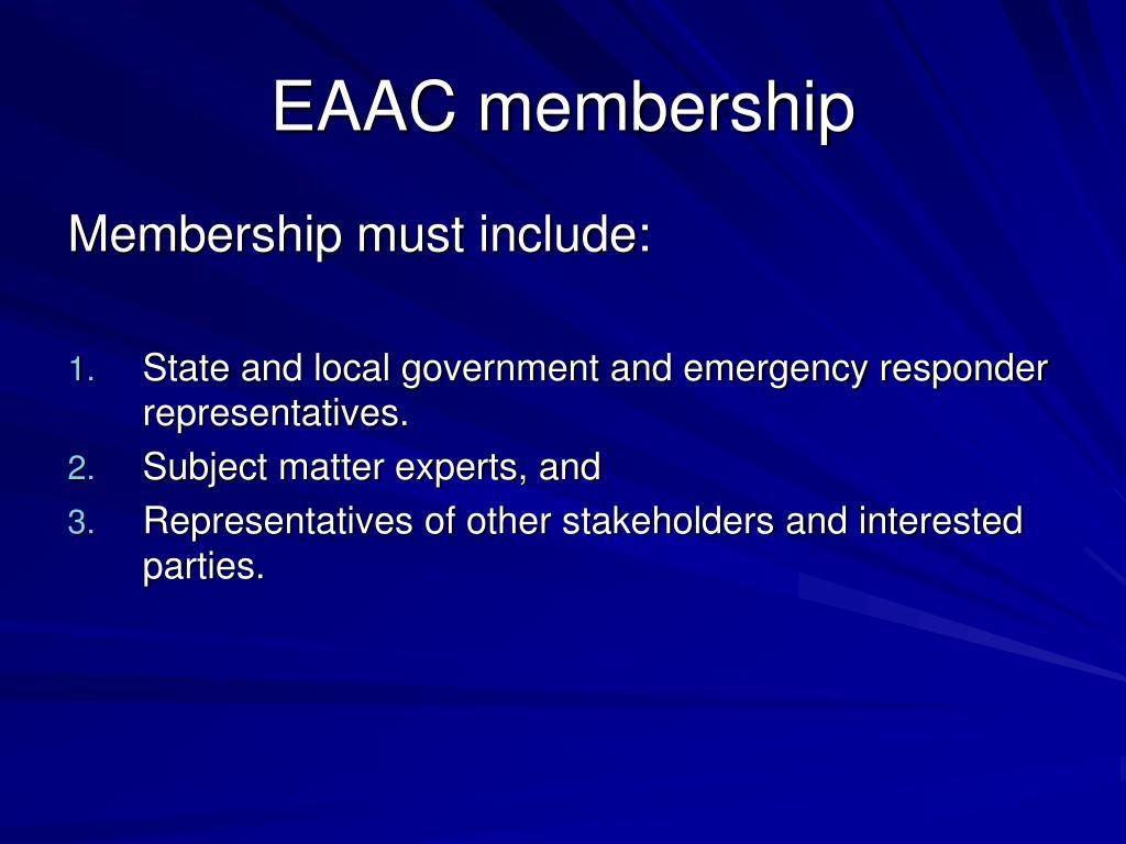 EAAC membership