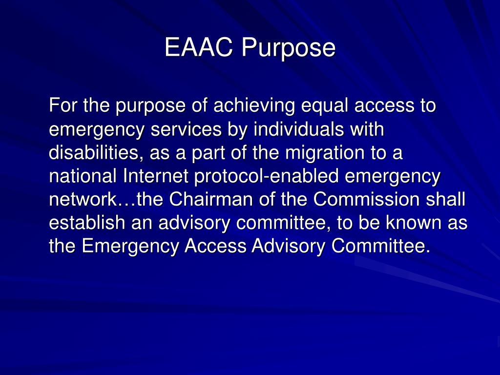 EAAC Purpose