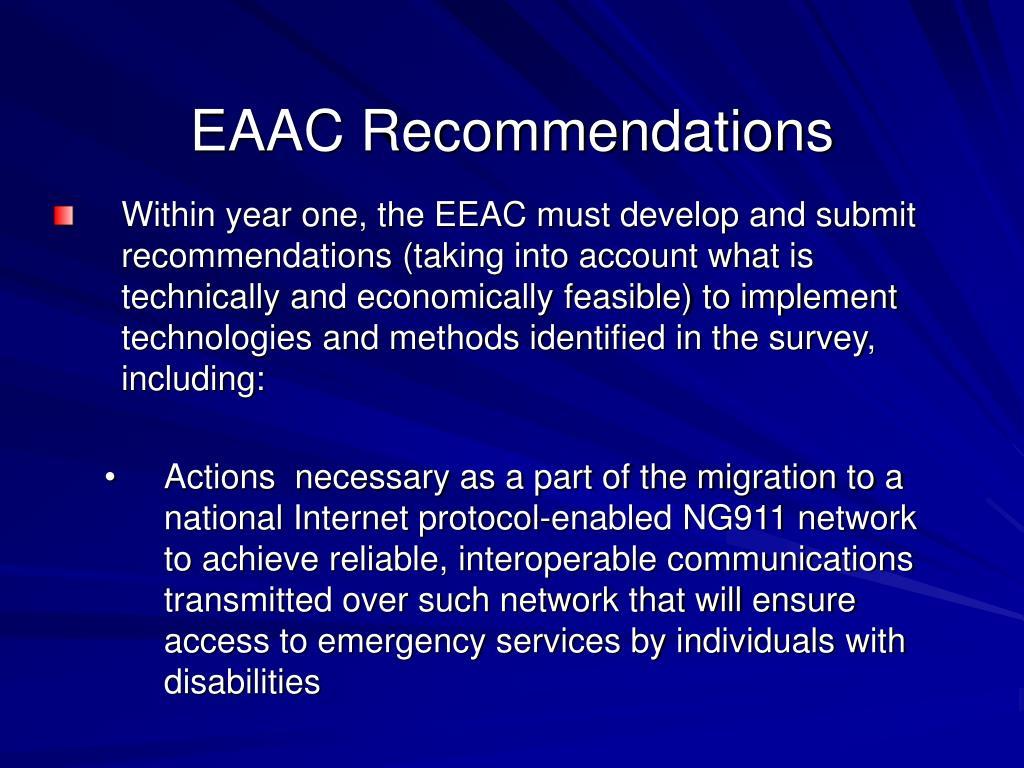 EAAC Recommendations