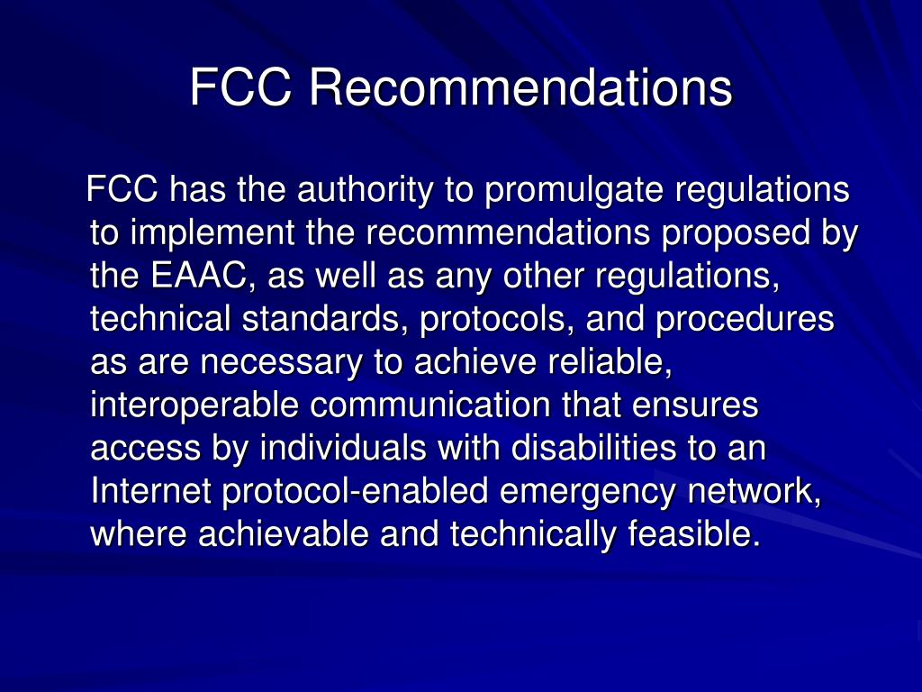 FCC Recommendations