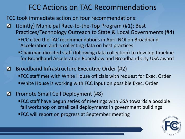 Fcc actions on tac recommendations
