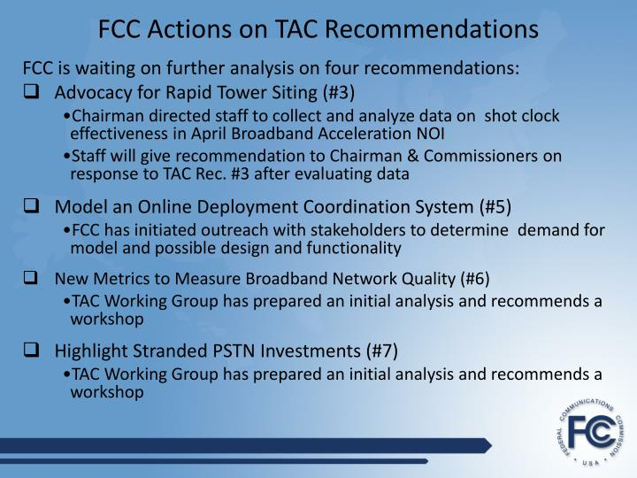 Fcc actions on tac recommendations3